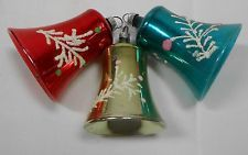 #B VINTAGE CHRISTMAS TREE ORNAMENT BELLS BLOWN MERCURY GLASS GLITTER DECORATION