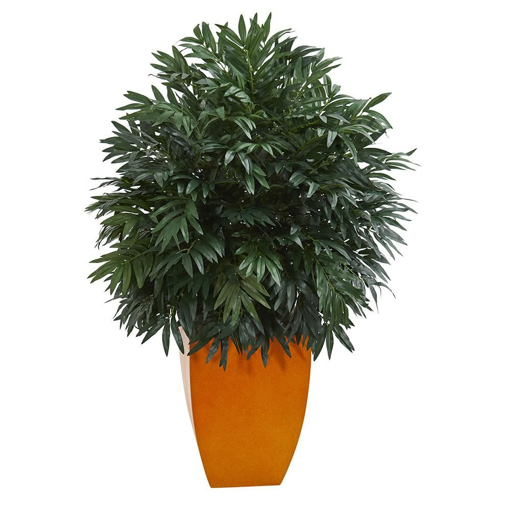 Artificial plant foot triple bamboo with orange planter silk