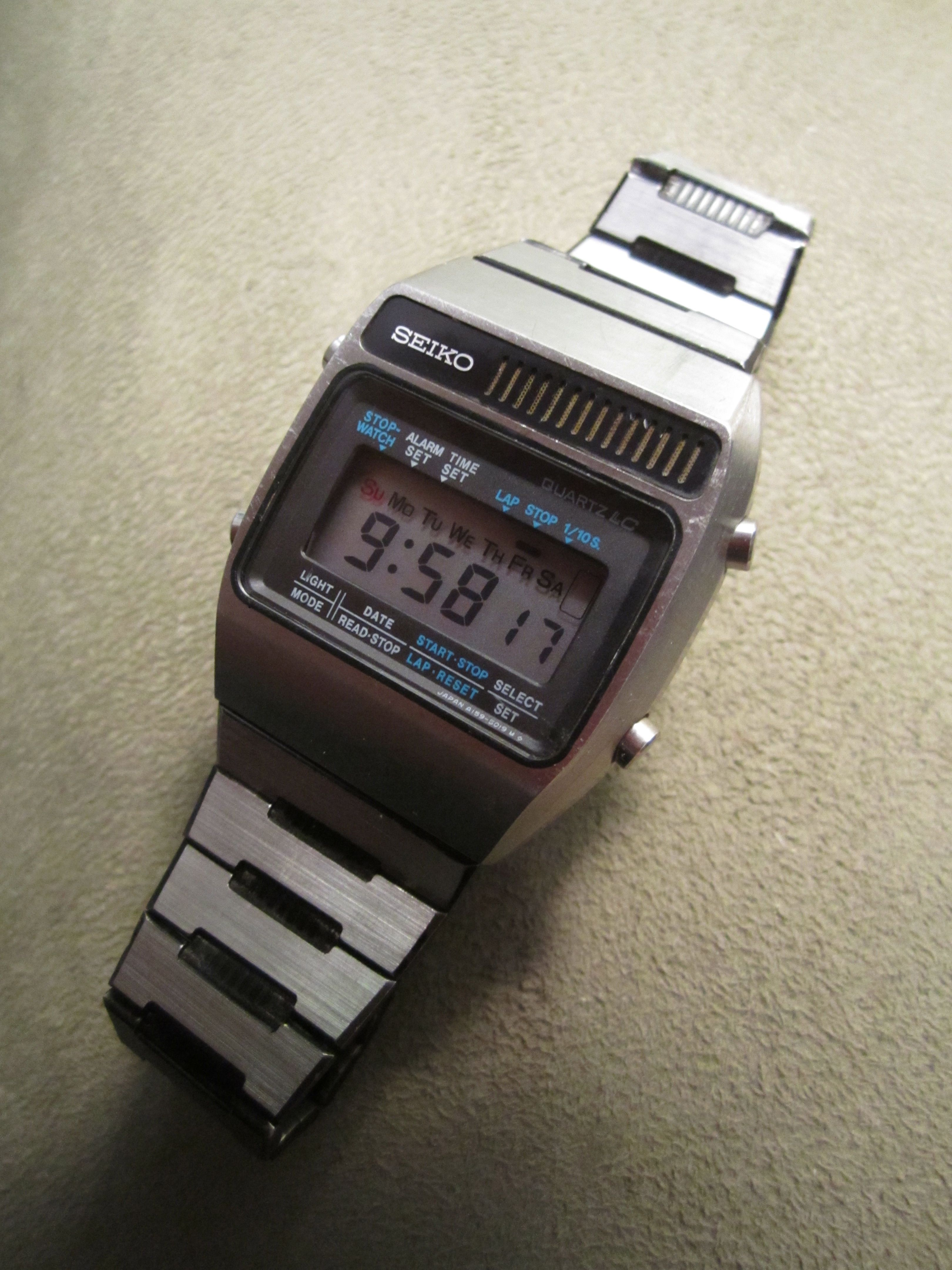Seiko A159-5009, March '78.  Words fail me.  Amazing quality - solid stainless steel, beautifully machined.  Almost all steel, copper, glass, rubber.  Groundbreaking technology in 1978, when these cost the equivalent of over 500 USD.