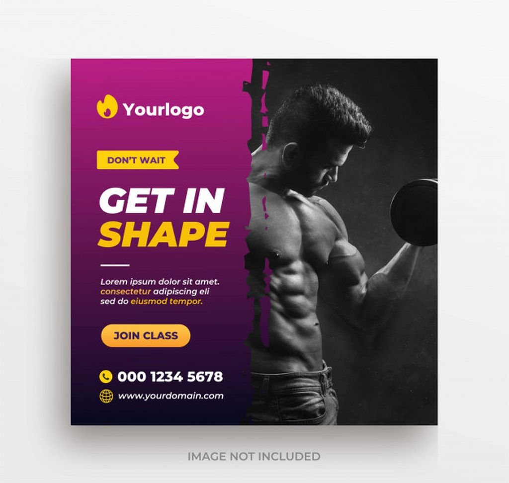 Gym or fitness training banner instagram post or square flyer template #paid, , #affiliate, #AFFILIA...