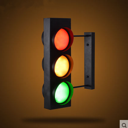 Industrial Wind Creative Retro Restaurant Cafe Bar Double Sided Led Traffic Light Caution Wall Lamp Led Wall Lights Wall Lights Industrial Style Lighting