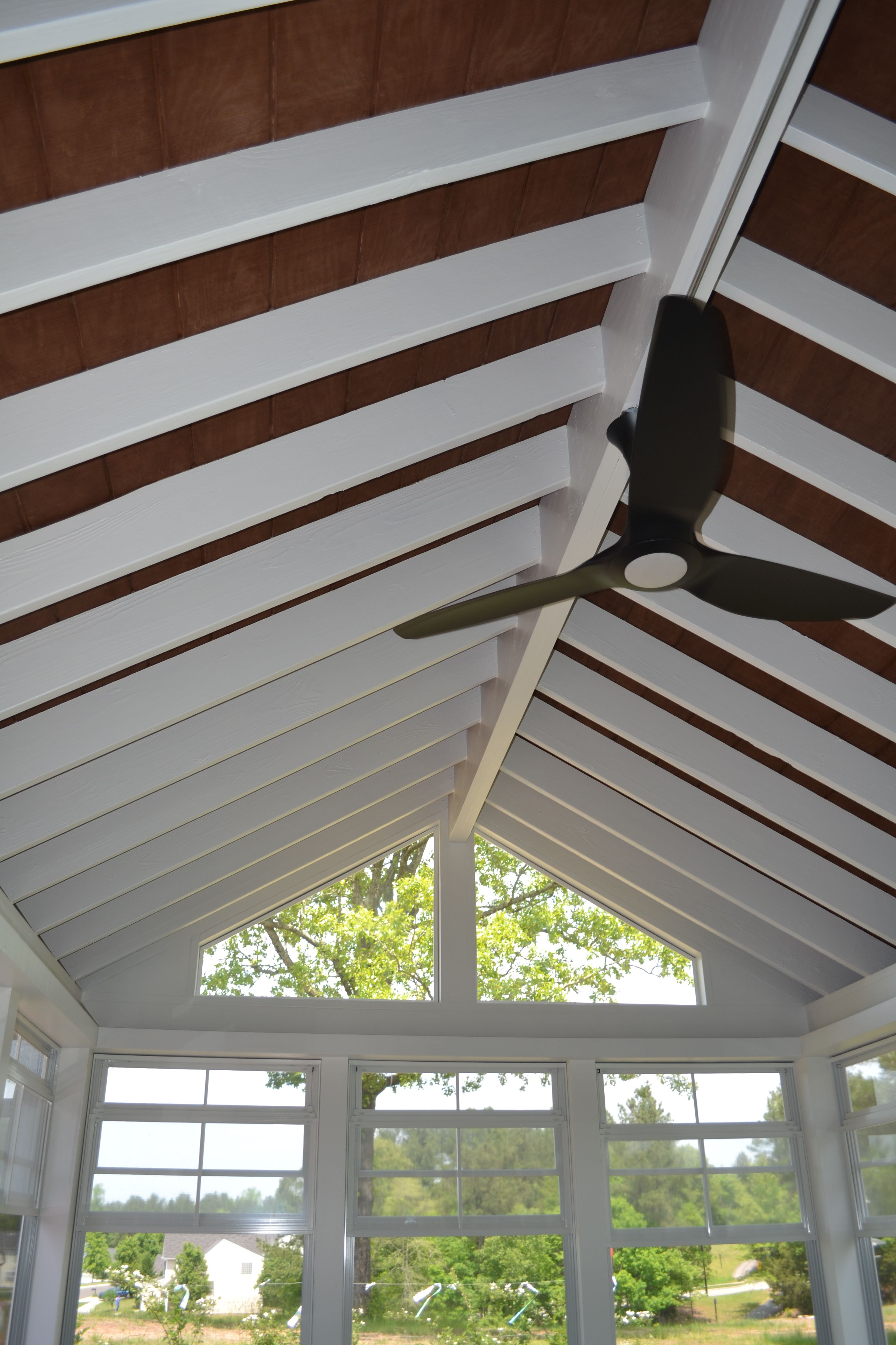 Screened Porch Exposed Beams : Custom durham screened porch with eze breeze windows and