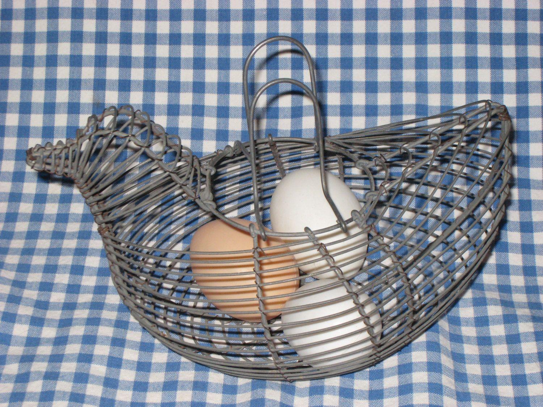 Wire Egg Basket/Wire Chicken Basket   Pinterest   Egg basket and ...