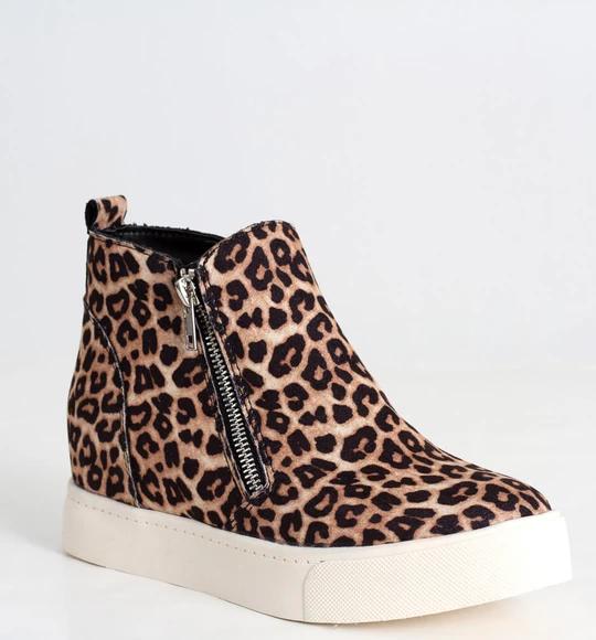 Fashion Women Sneaker Inside Wedge Shoes Leopard Printed Casual Zipper Boots US