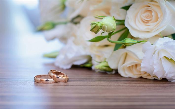 Sfondi Anniversario Di Matrimonio.Scarica Sfondi Anelli Di Nozze D Oro Bianco Rose Bouquet
