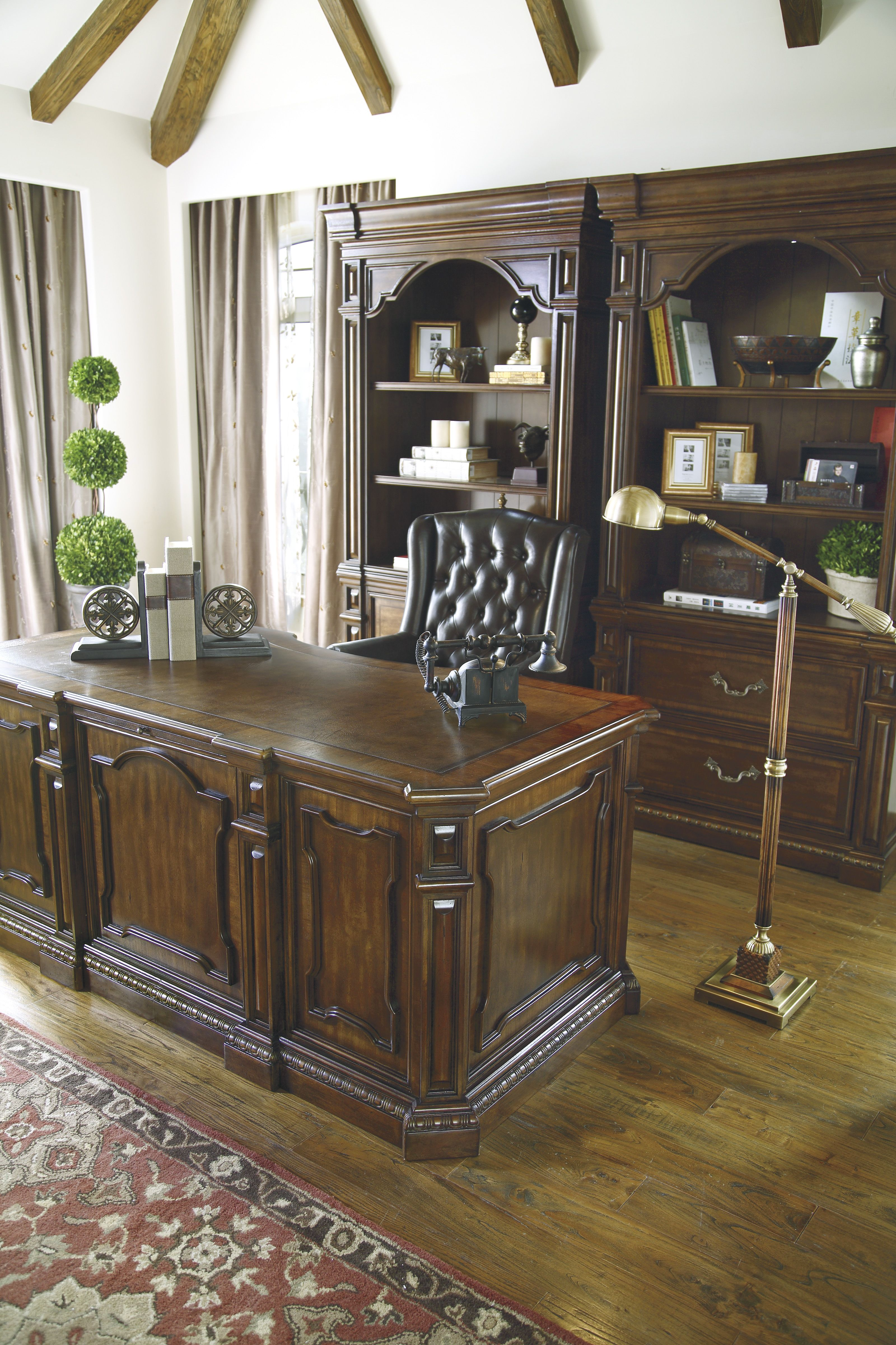 I love the carvings on this Villa Desk. Great for any ...