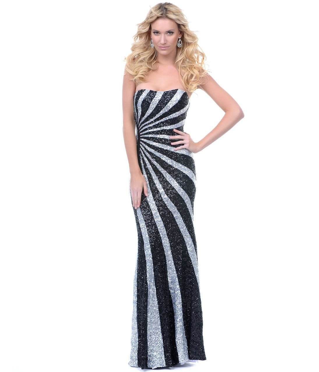 Black u silver starburst sequined prom gown evening dresses