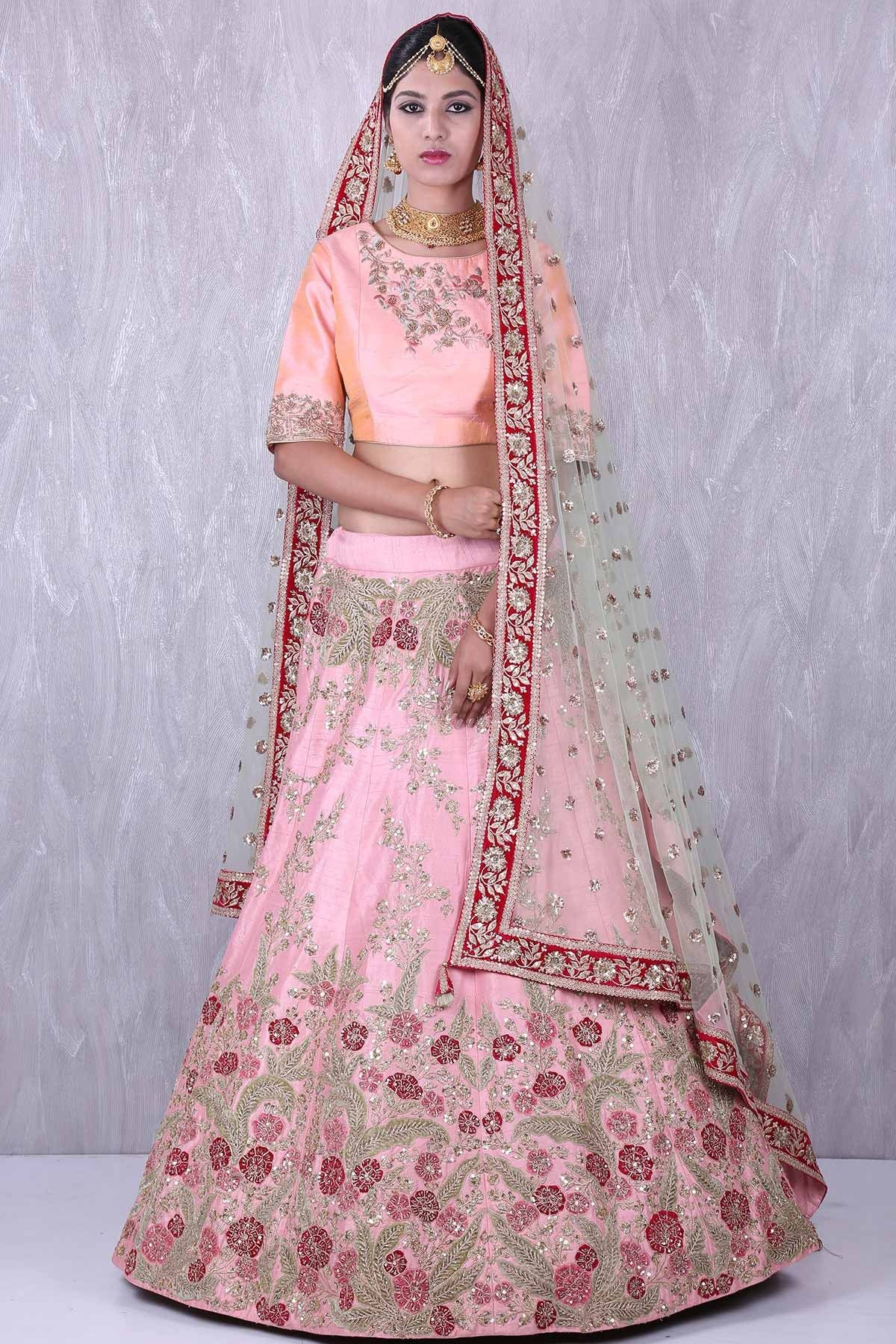 b2d4aa2b63 Buy Baby pink & peach pink gorgeous raw silk lehenga choli with zardosi  work Online #lehenga #bridal #circular #indowestern #rawsilk #embroidered  #zardosi ...