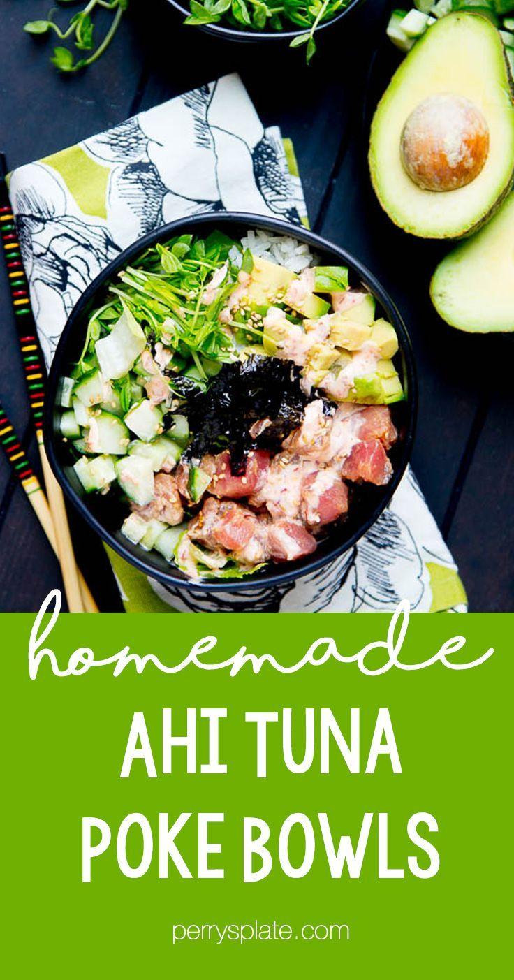 Ahi tuna poke bowls with spicy mayo perrys plate tuna