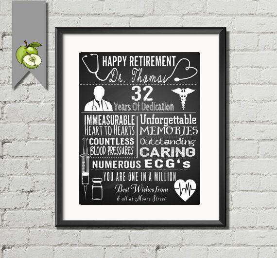 Retirement gift for a Doctor, Nurse, Personalised typography ...