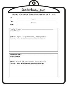 Absent Student System  Substitute Feedback Form For Middl