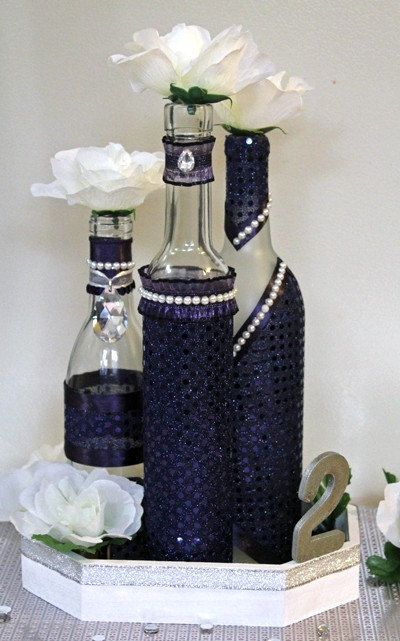 wine bottle decorations for weddings set3 decorated wine bottle centerpiece lapis by 1430