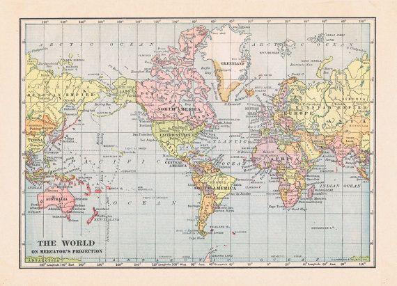 World map 1915 large printable digital download in pastel colors world map 1915 large printable digital download in pastel colors diy interior design wall hanging vintage style gumiabroncs Images