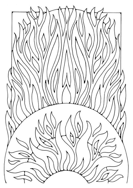 Coloring Page Fire With Images Coloring Pages Mandala