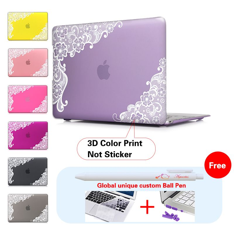 Lace Floral Insert Purple Laptop Accessories Print Cover For Macbook Pro 13 Case 15