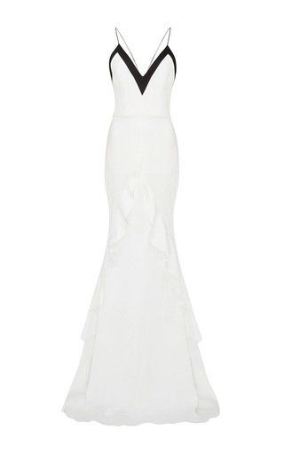 Lauren satin crepe ruffle front gown by ALEX PERRY for Preorder on Moda Operandi