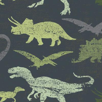 Tempaper Kids Dinosaurs Navy and Green Multi SelfAdhesive