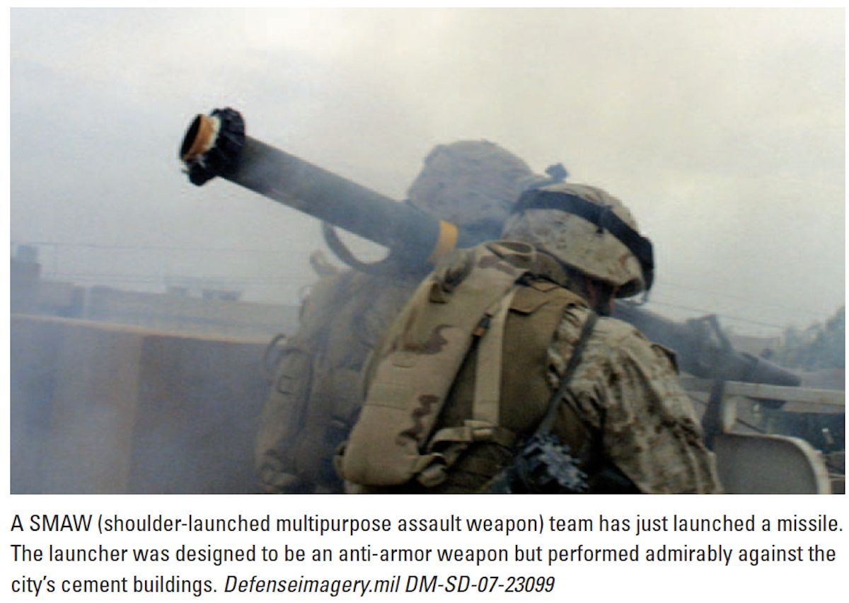 A smaw team has just launched a missile in fallujah in