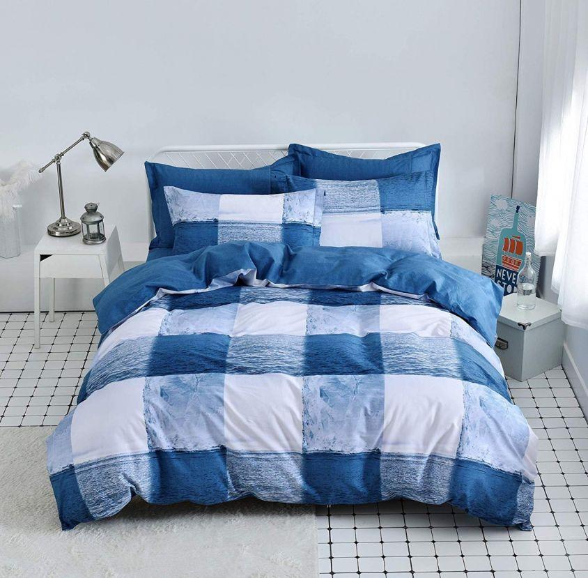 3pcs Ocean Blue And White Duvet Cover Set 100 Cotton Checkered Pattern Bedding Set Duvet Cover Sets Navy Blue Duvet Cover Blue Duvet