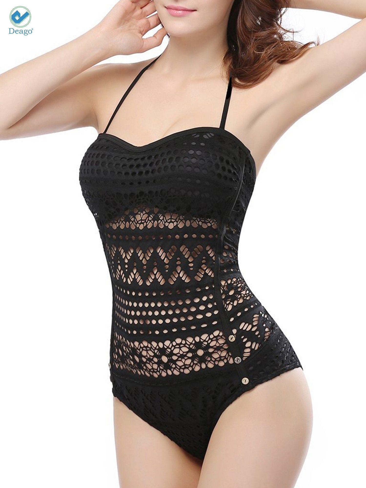 960b72cf48 Deago Women's Crochet Lace Halter Straps Swimsuits Bathing Beach Suit  Padded Bikini Monokini Swimwear US 0-16#Halter, #Straps, #Swimsuits