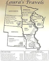 Map Of Laura Ingalls Wilder Travels Little House Series