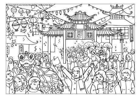 Chinese New Year Celebration Colouring Page New Year Coloring Pages Chinese New Year Activities Chinese New Year Monkey