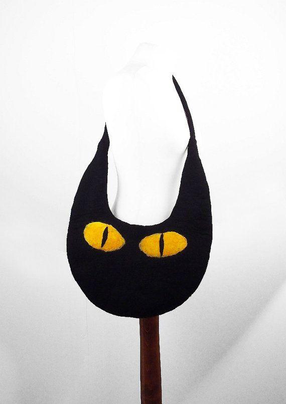 Felted Cat Bag Felted Handbag Cat Purse wild Felt Nunofelt Nuno felt Silk black fantasy shoulder bag Fiber Art boho