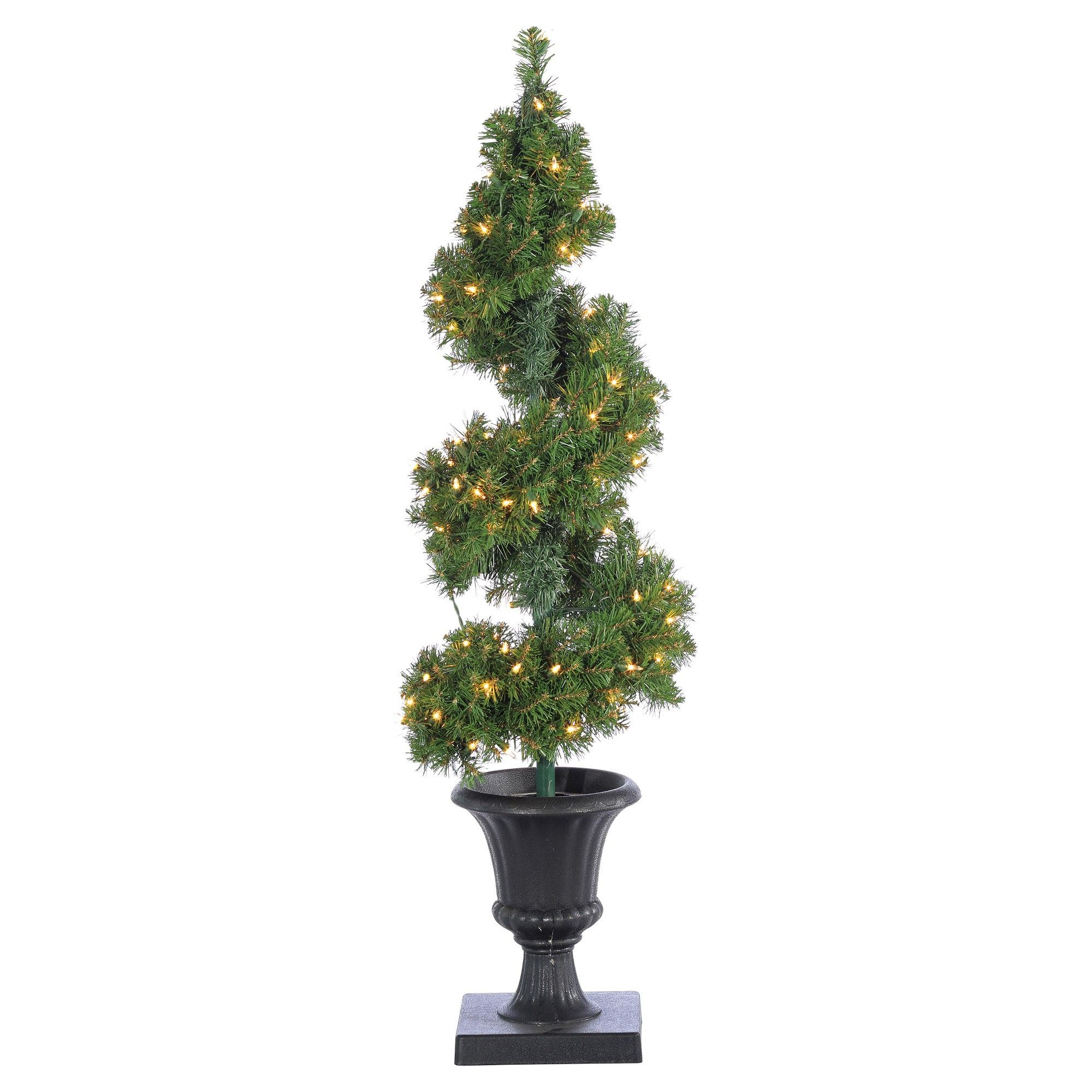 4ft PreLit Artificial Christmas Tree Potted Spiral Tree