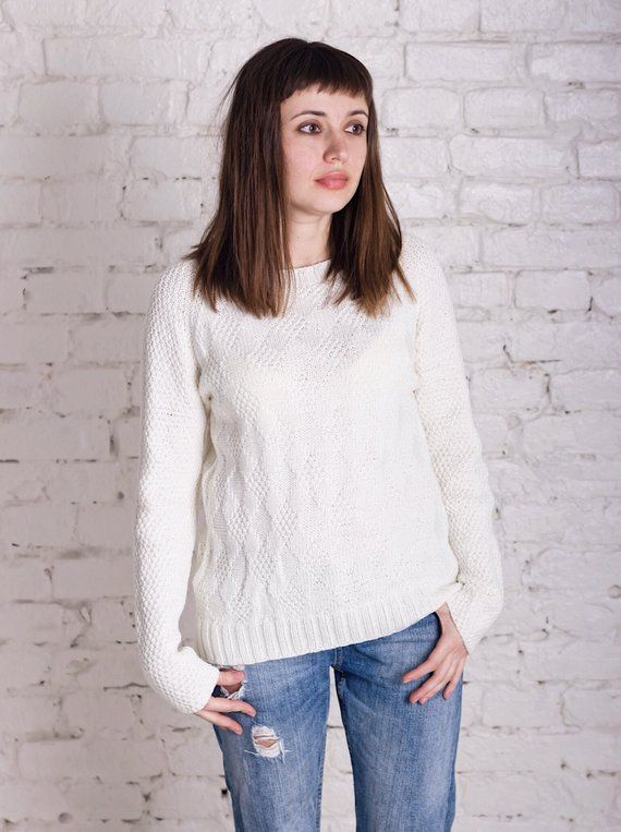 White knitted sweater Hand knitted merino wool womens