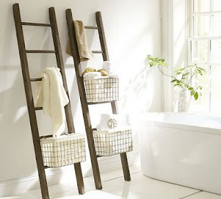 Wire Baskets And Ladders Towel Storage