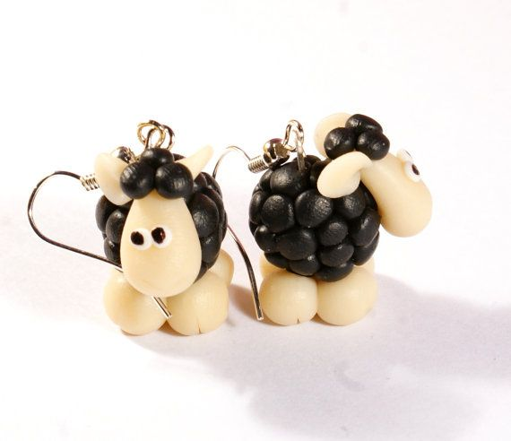 BLACK SHEEPS 3D polymer clay earrings plus free gift on Etsy, $6.00