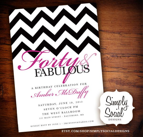 40th Birthday Party Invitation with Chevron 1600 via Etsy
