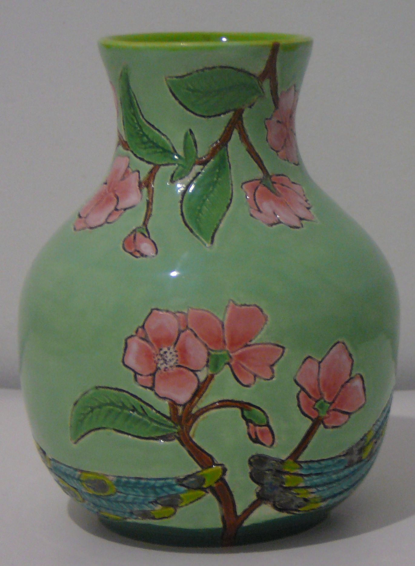 Peacock vase (backside) thrown, turned, carved and glazed July 2012