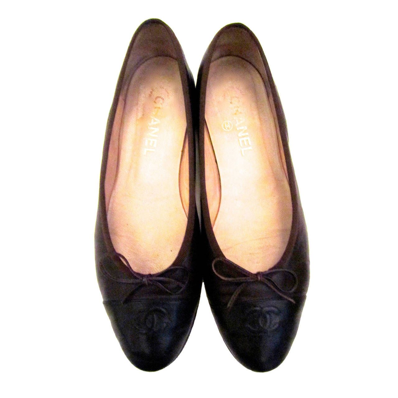 8446d937271c2 Chanel Ballerina Flats - Brown Lambskin with Black Toe - Size 40.5 | From a  collection