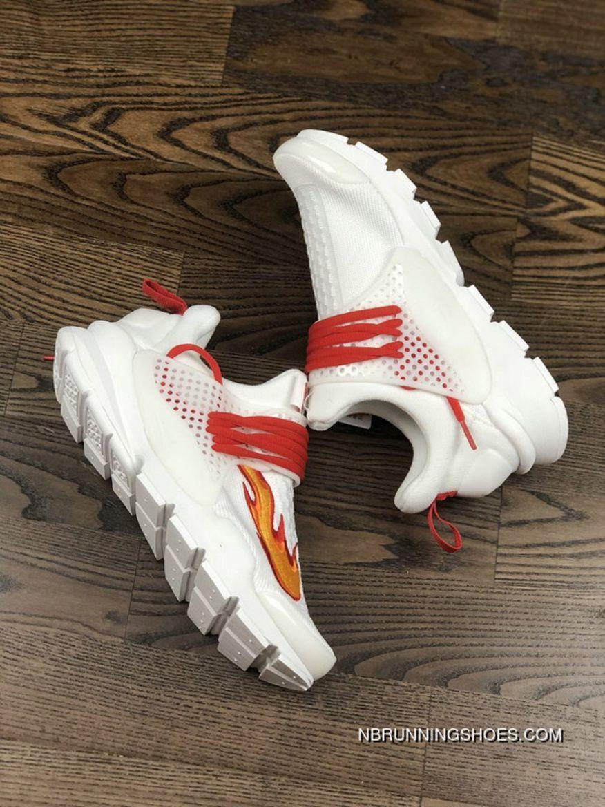 wholesale dealer 67b6e 95f7a Nike Sock Dart Kjcrd Triple White Running Shoes 819686-100 White Red Orange  Best