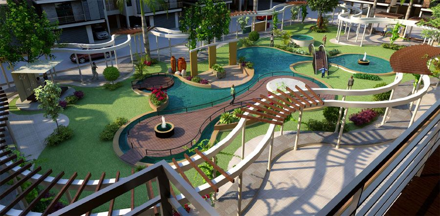 Beautiful Garden View Of Luxurious 4 Bhk Apartments With All