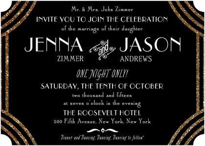 black gold invite Old Hollywood Glam Wedding Pinterest