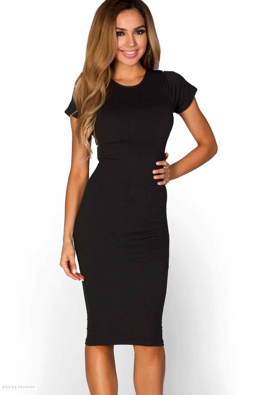 08017e025f9 Short sleeve bodycon midi dress is a sexy little black dress that feels  soft and stretchy like a light t shirt! Wear this comfy sexy dress as a  cute casual ...