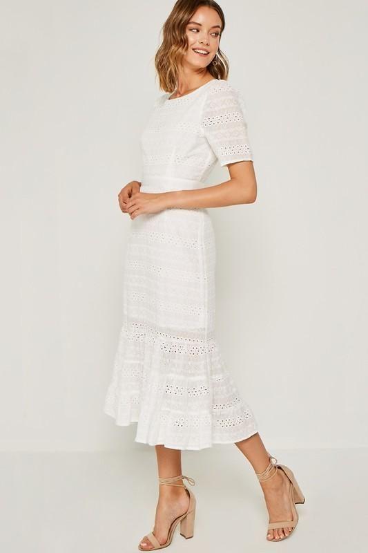 c8b3fb0afd55b Off White Eyelet Ruffle Midi Dress in 2019 | Dresses | Dresses ...