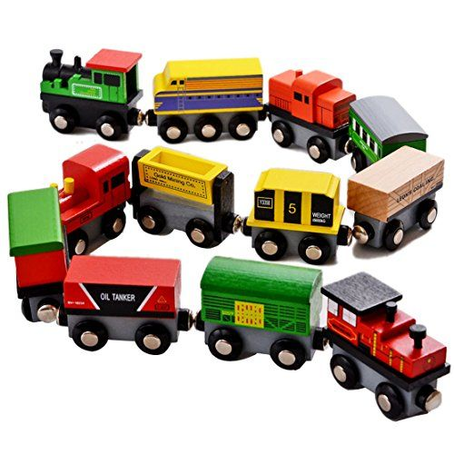 Baby Animals Wooden Trains Model Toy Magnetic Train Kids Education Toys Gifts DP