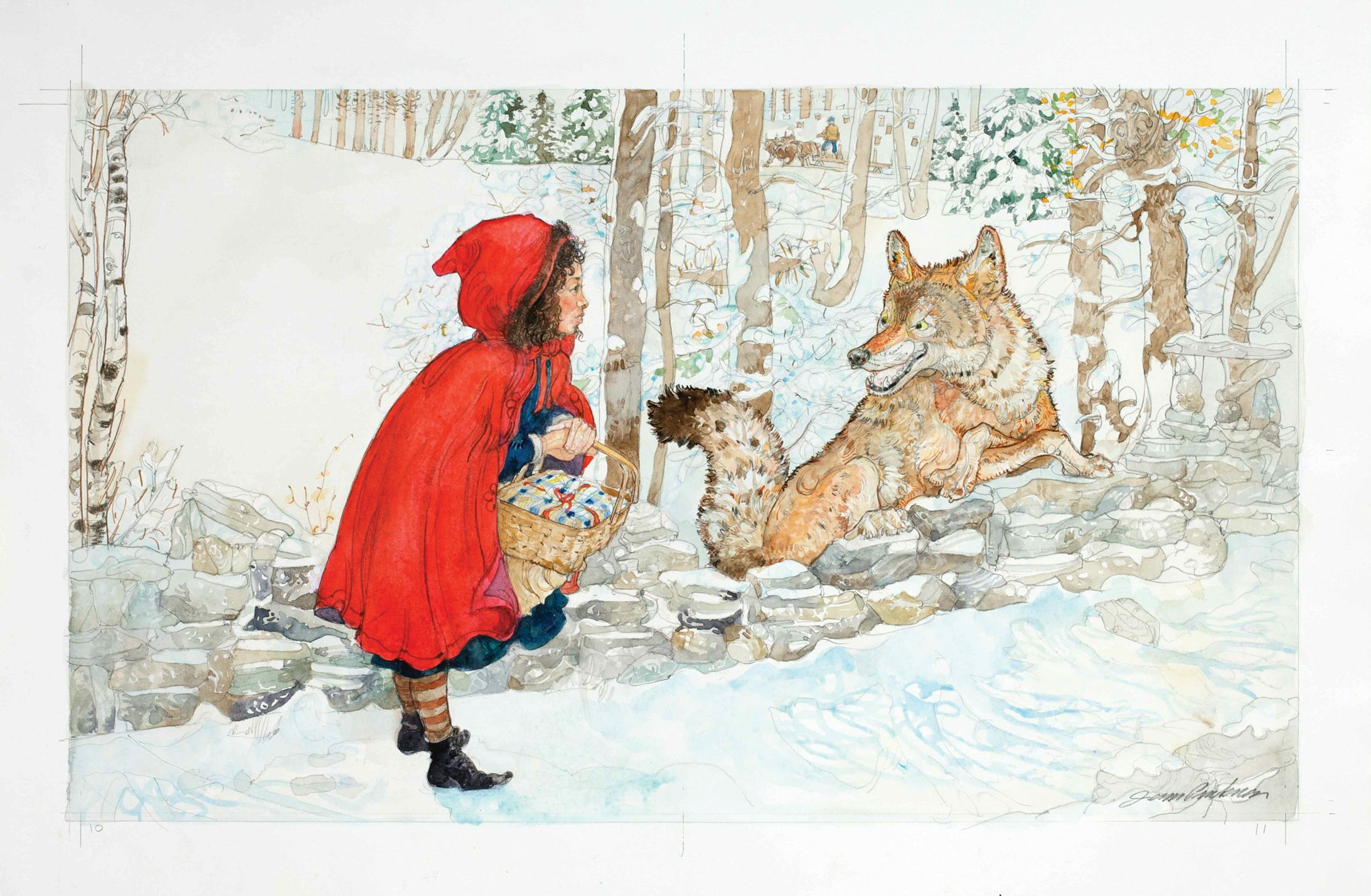 Red Riding Hood and the wolf. Jerry Pinkney