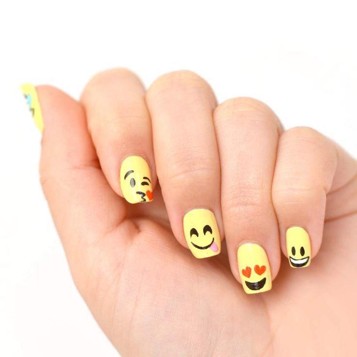 les 25 meilleures id es de la cat gorie nail art smiley sur pinterest ongles emoji nail art. Black Bedroom Furniture Sets. Home Design Ideas