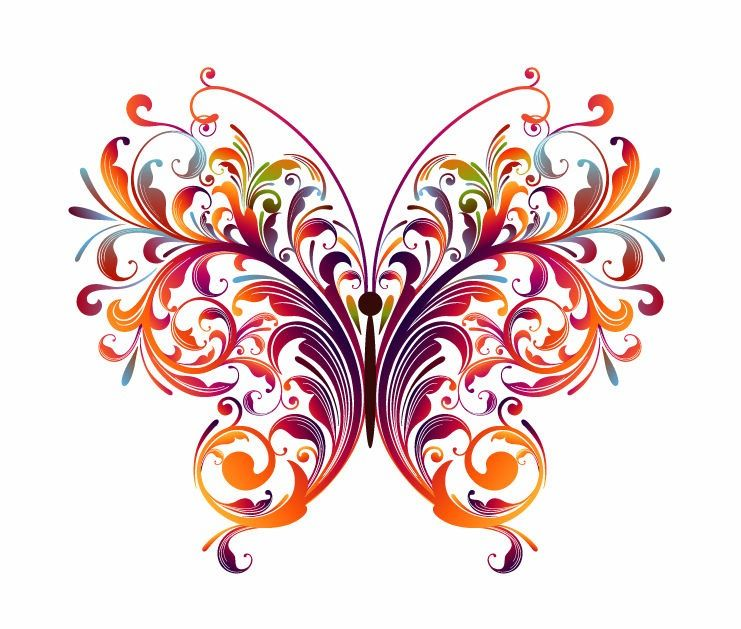 abstract designs to draw abstract floral butterfly vector graphic