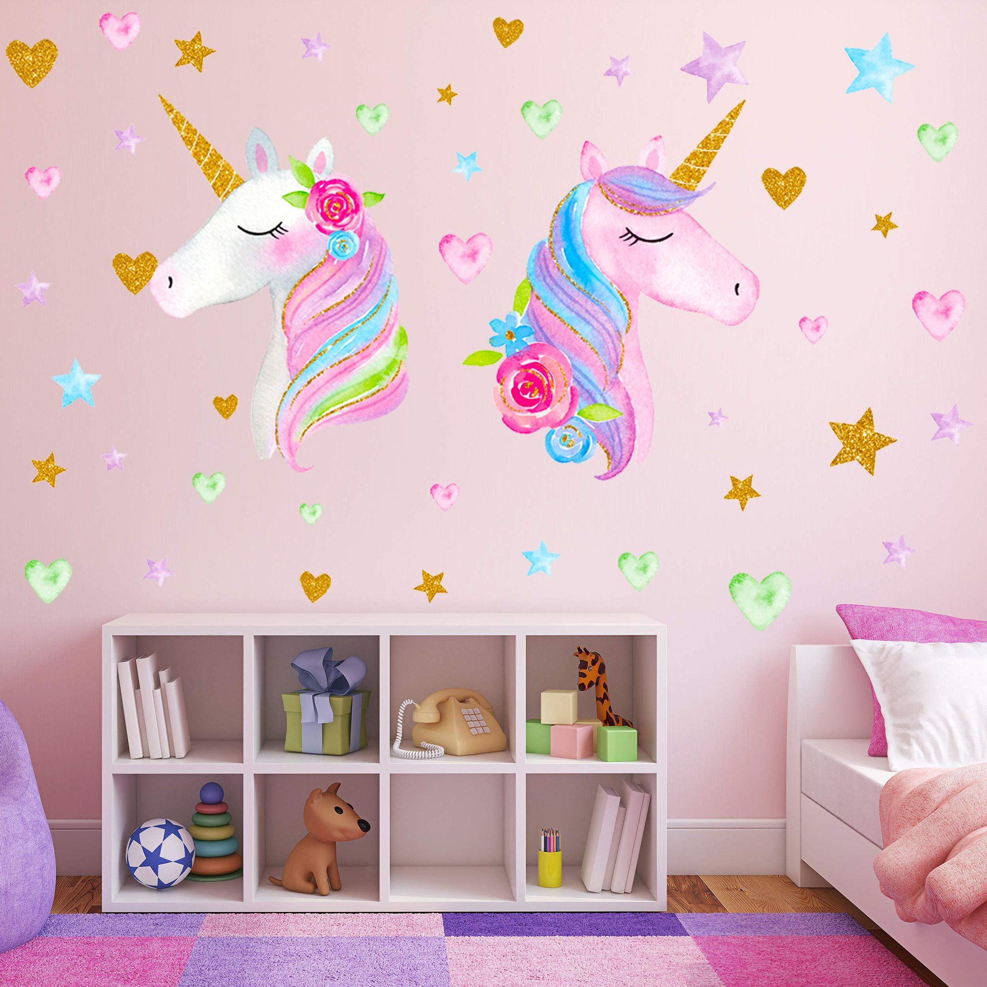2 Sheets Large Size Unicorn Wall Decor Removable Unicorn Wall Decals Stickers Decor For Gilrs Kids Bedroom Nursery Birthday Party Favor Neasyth Store 9 99 2 In 2021 Baby Wall Stickers Kids Bedroom Unicorn bedroom wall decor