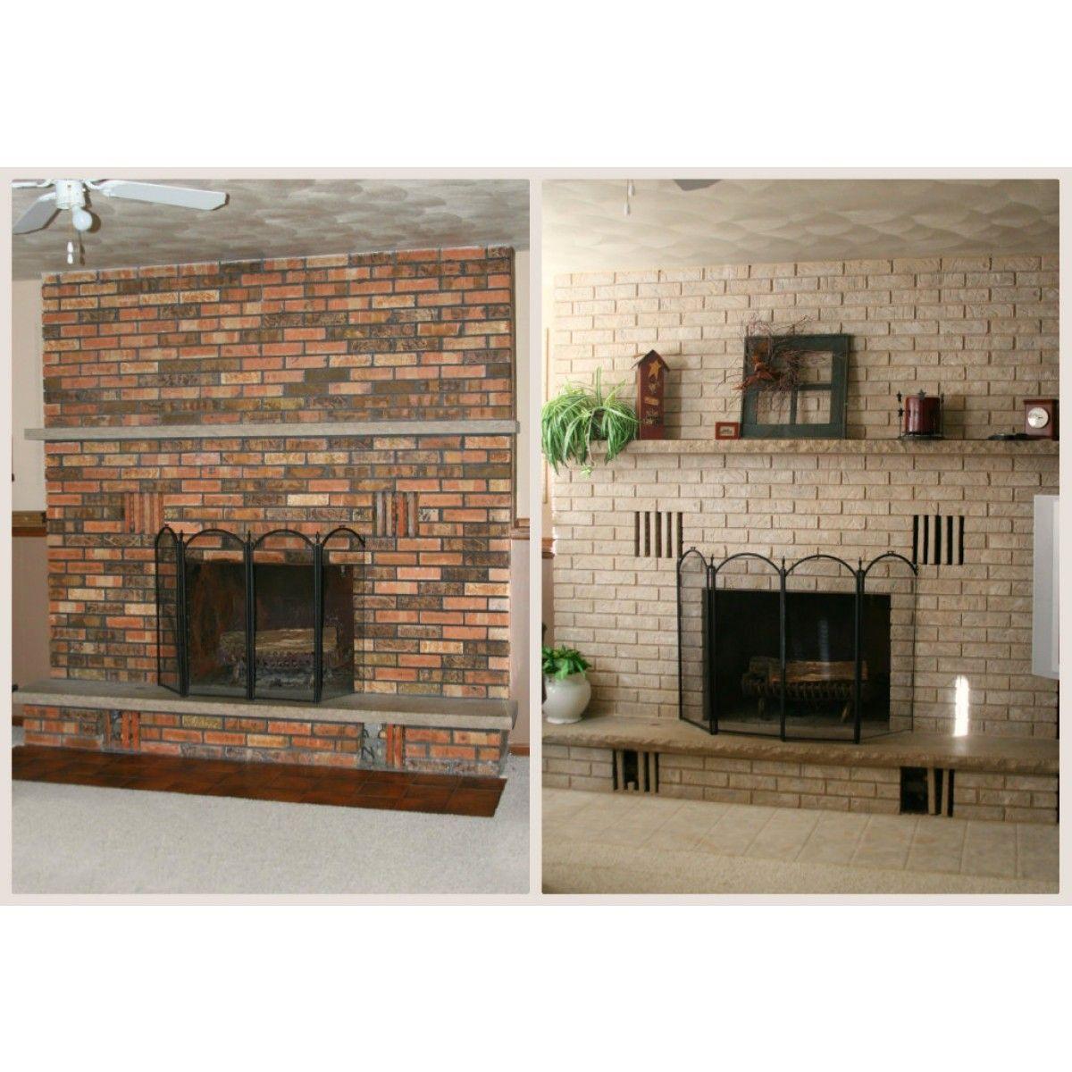 Brick anew fireplace paint kit brickwall whitewash pinterest