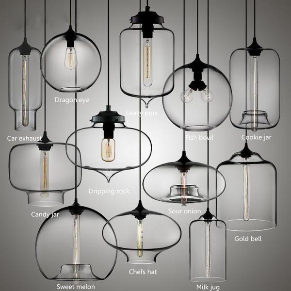 Designer Glass Bowl Ceiling Pendant Lamp Edison Modern Hanging