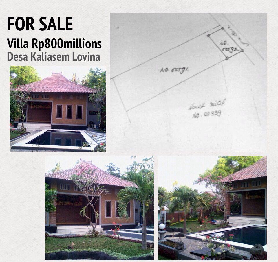 For Sale Villa Location Kaliasem Village At Lovina Bali Land Size 3are 300 Square Metres The Villa Consist Pool Prices Swimming Pool Prices Swimming Pools