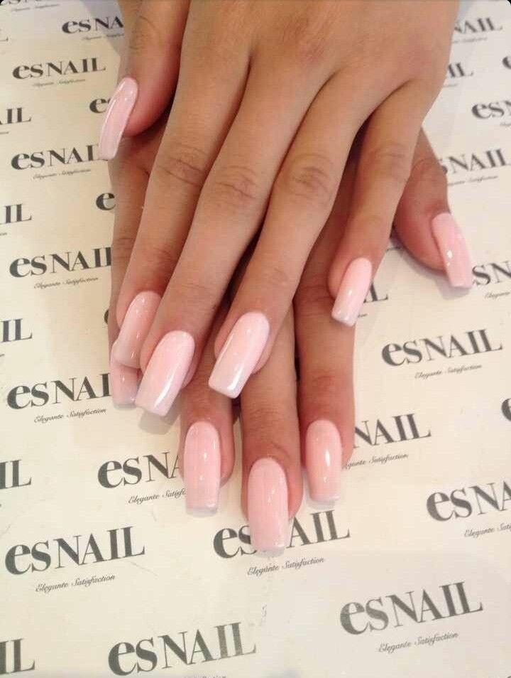 Es Nail Light Pink Square Tip Acrylic Nails Square Nails Pink Nails Fake Nails
