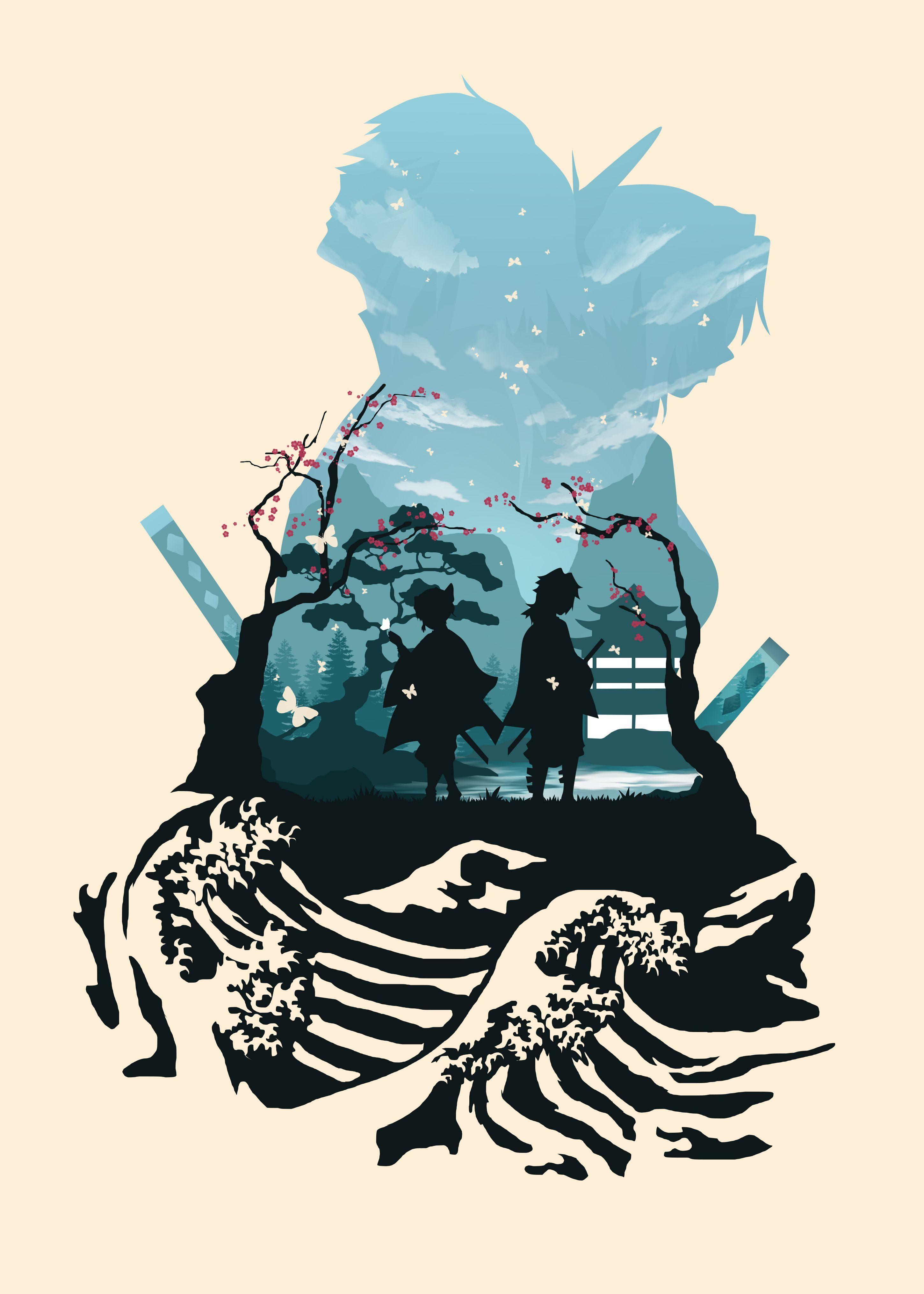 Giyu Tomioka An d Shinobu Kochokoo l Wal Paper inn S Airer Kimetsu no Yaiba |Anime Art | Displate thumbnail