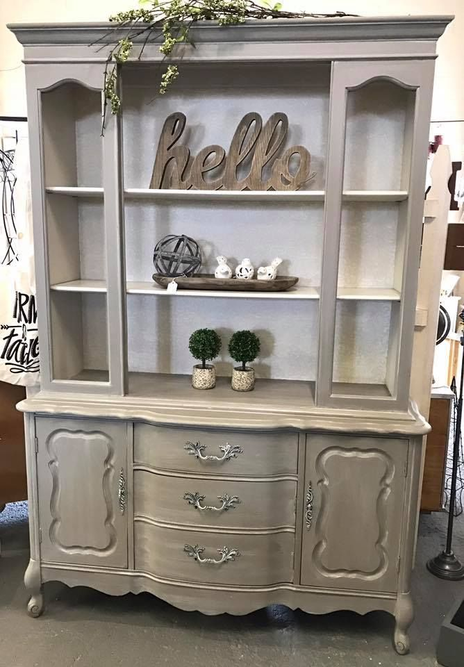 Genial French Style China Cabinet/hutch Grey/taupe And Whitewashed
